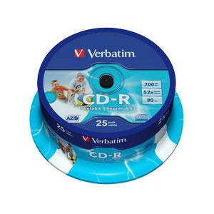 CD-R 80min/700Mb 52x (cake)25 printable Verbatim